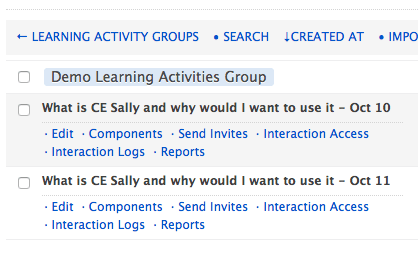 admin learning activity table