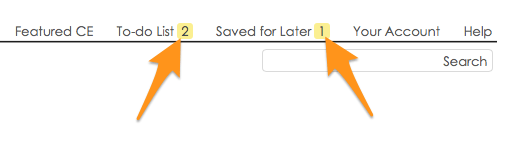To-do List & Saved for Later in the main nav